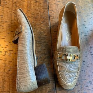 Salvatore Ferragamo Snake Leather Shoes Size 7 Tan